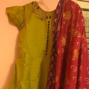 Green Long Frock with Duppata